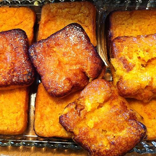 Tangerine English Pudding Squares W/ Tahini Almond Butter