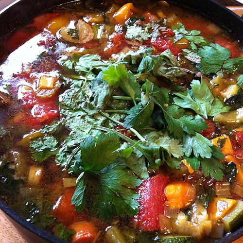 Marishya's Veggie Soup W/ A Parsley Dusting