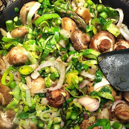 Mushroom, Asparagus, Leek, Onion, Garlic And Brussels Sprout Scramble