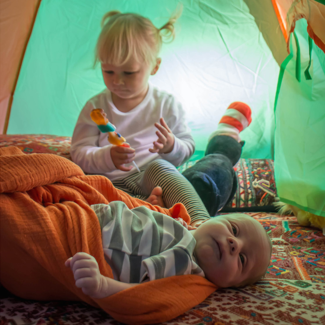 Iza and Zai in Tent