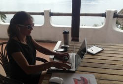 Raco Life Rache Working On The Terrace