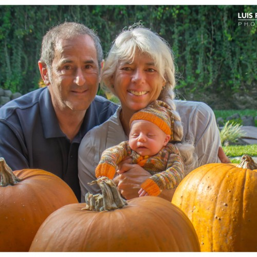 Abuela & Grandpa By The Pumpkin Patch