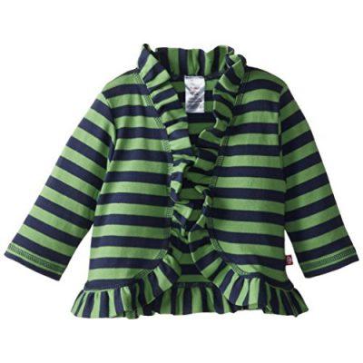 Zutano Baby Girls' Primary Stripe Ruffle Cardigan Sweater